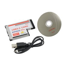 цена на Express USB 3.0 PCMCIA 2 Ports Card Adapter Transfer rate up to 5Gbps 1.5/12/480Mbps Silver Color 54mm