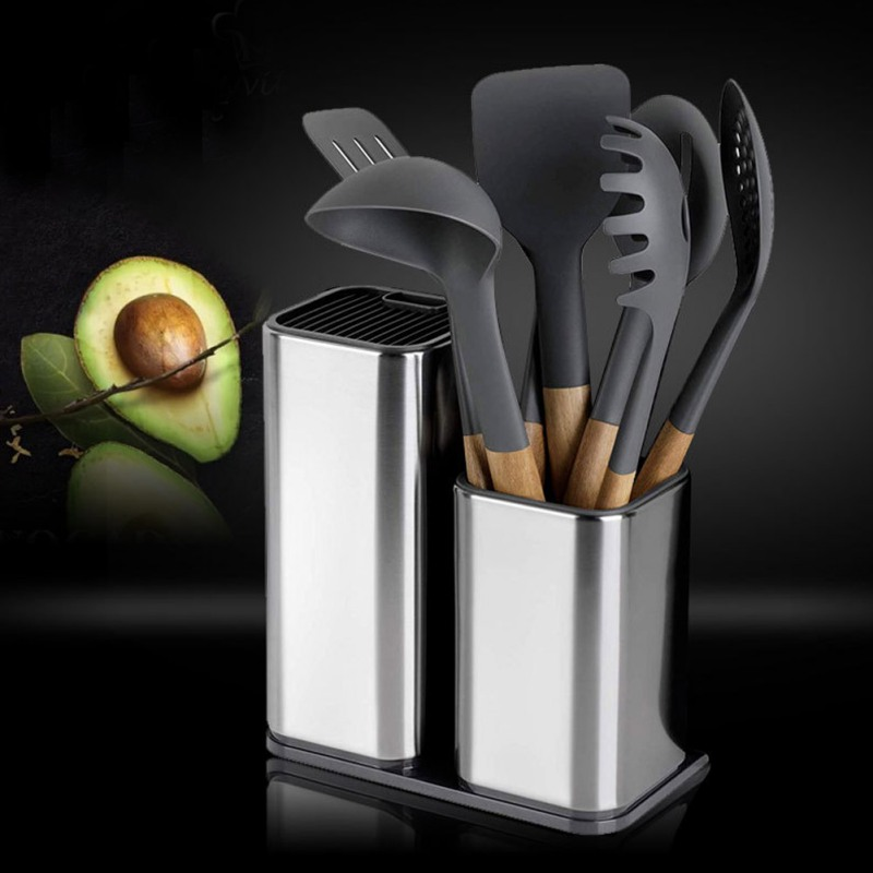 Unique Stainless Steel Knife Holder Household Knife Storage Bucket With Drain Hole Knives Accessories Kitchen Supplies