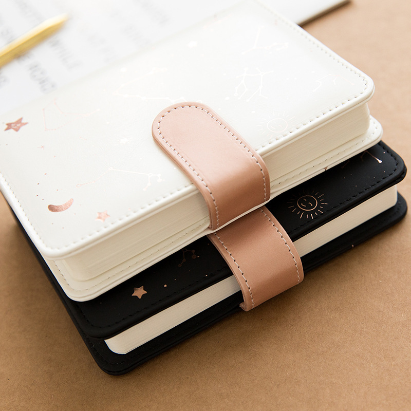 Soft PU Cover Star Diary A6 Notebook 2020 Undated Monthly Daily Plan Book 144 Sheets