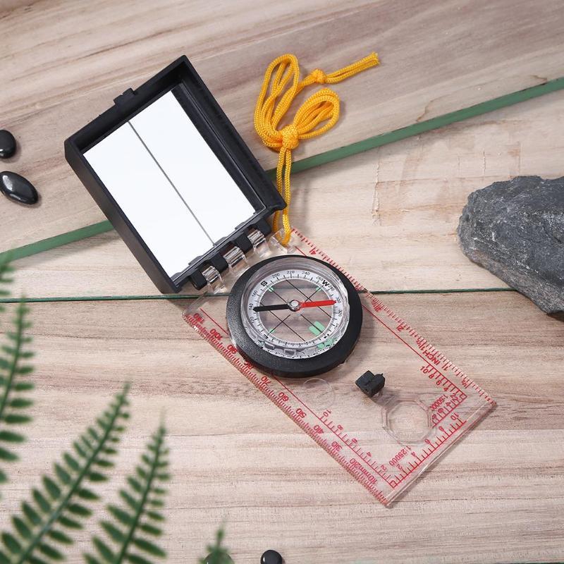Портативный картографическая линейка зеркало Открытый выживания Кемпинг Туризм Компас инструмент