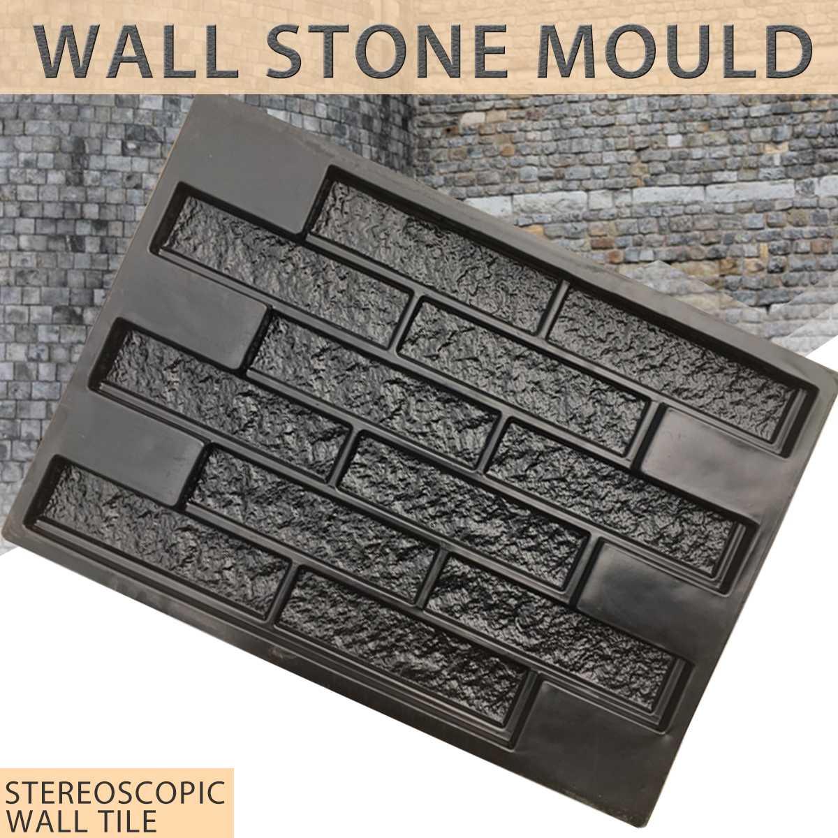 Plastic Molds Wall Concrete Plaster Garden House Wall Stone Tiles Stone Mold Cement Bricks Maker Mould 69*49cm Decorative
