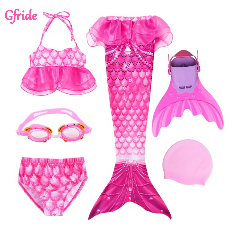 Baby Girls Mermaid Costume With Tails Fin Swimsuit For Kids Swimming Bathing Suit Costume Bikini Swimsuit Flipper Monofin Goggle
