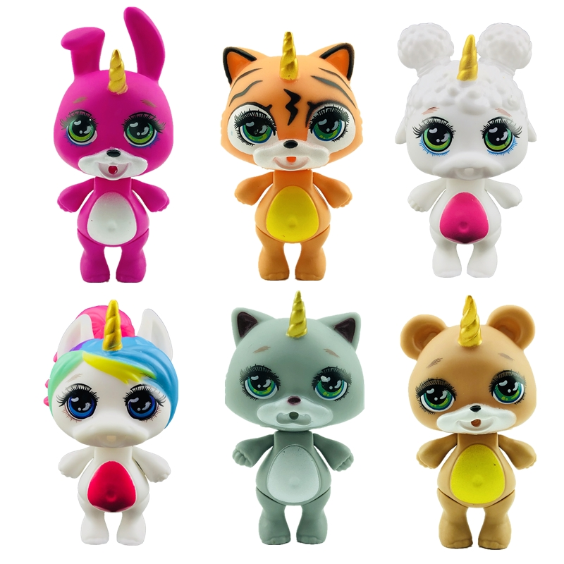 Lanyitoys New Squishy 6 Cute Styles 3.5inch Poopsie Squishy Kitties Slime Squish Smooshy Soft Toys Squishy Poopsie Unicorni Toys