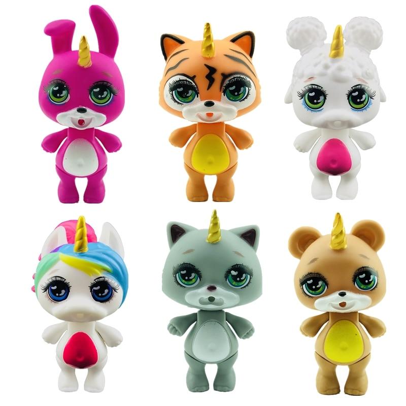 Lanyitoys New Squishy 6 Cute Styles 3.5inch Poopsie Squishy Kitties Slime Squish Smooshy Soft Toys Squishy Poopsie Unicorni Toys