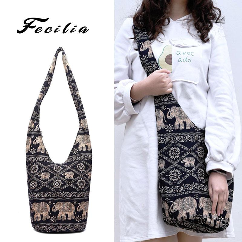Fecilia Boho Crossbody Shoulder Bag Vintage Hand Woven Thick Cotton Hippie Bags with Zipper Pockets Bohemian Bags Khaki Black