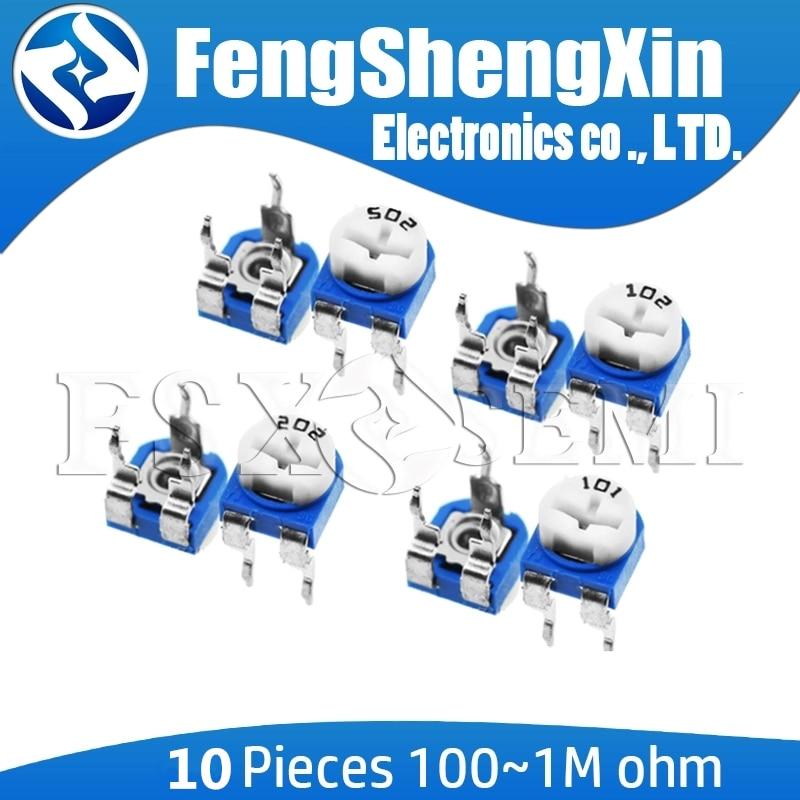10pcs/lot RM065 RM-065 100 200 500 1K 2K 5K 10K 20K 50K 100K 200K 500K 1M Ohm Trimpot Trimmer Potentiometer Variable Resistor