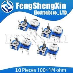 10 pçs/lote RM065 RM-065 100 200 500 20 10 5 2 1K K K K K K 100K 200K 500K 1 50 M ohm Trimpot Trimmer Potenciômetro resistor variável