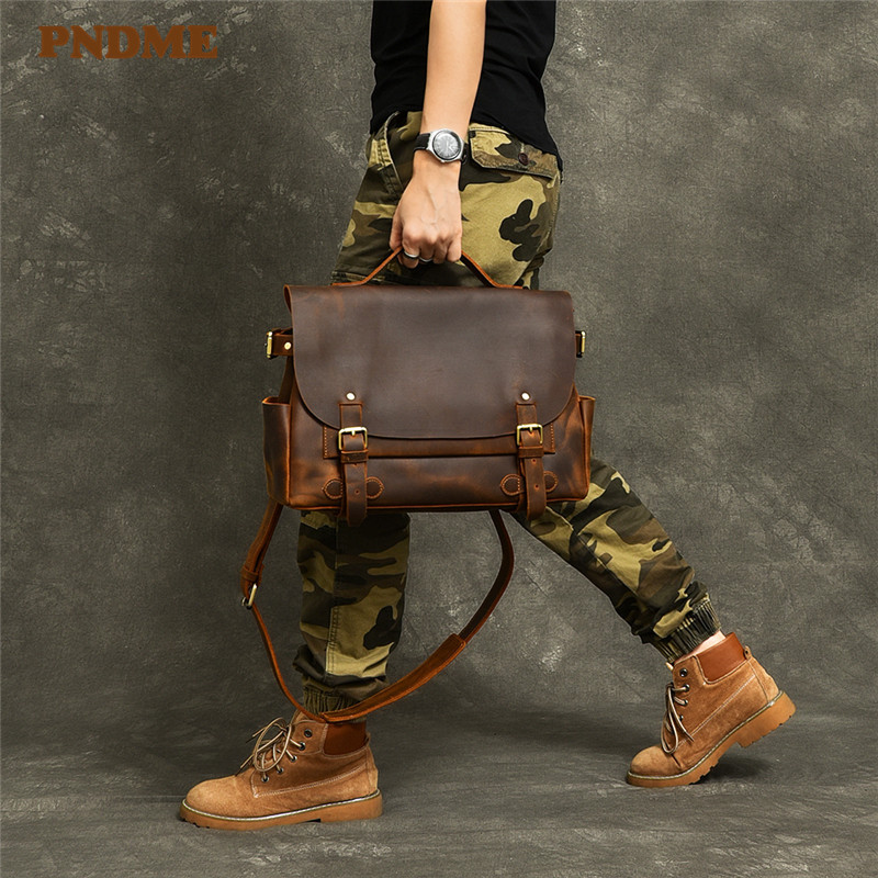 PNDME Fashion Vintage Genuine Leather Men's Briefcase Designer Business High Quality Crazy Horse Cowhide Laptop Shoulder Bags