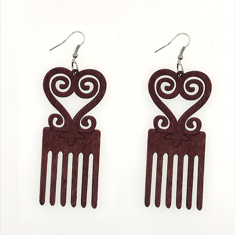 Coffee Africa Map Wood African Comb Black Queen Afro Geo Earrings Vintage Bohemia Party Club Jewelry Wooden DIY Accessories
