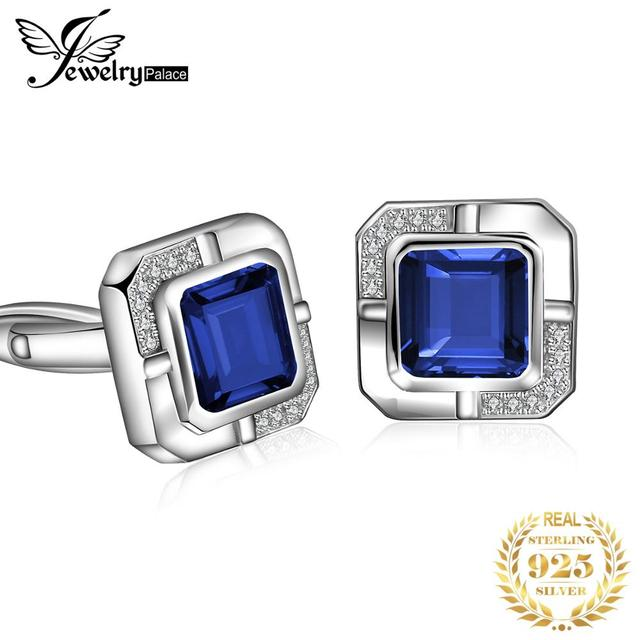 Jewelrypalace Mens Created Sapphire Anniversary Engagement Wedding Cufflinks  925 Sterling Silver