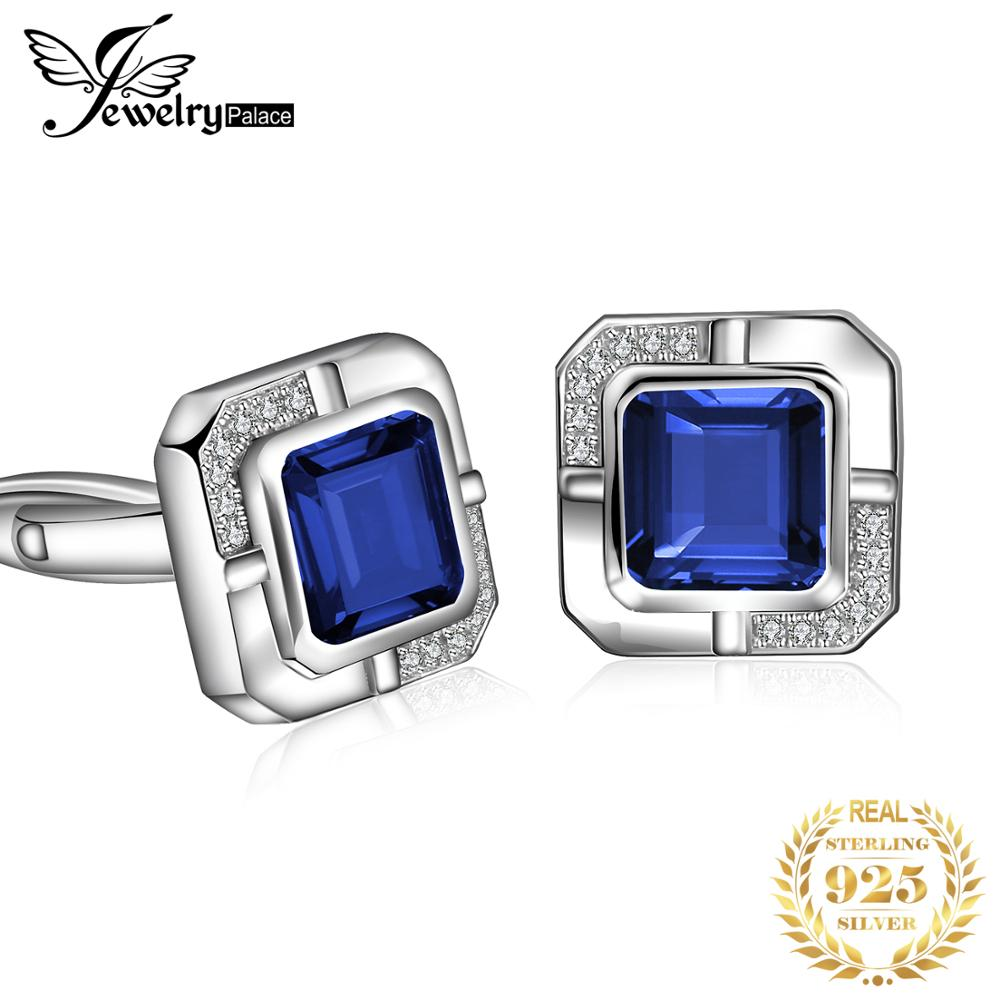 Jewelrypalace Men's Created Sapphire Anniversary Engagement Wedding Cufflinks 925 Sterling Silver(China)