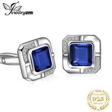 Jewelrypalace męska utworzono Sapphire rocznica zaręczyny ślubne spinki do mankietów 925 srebro