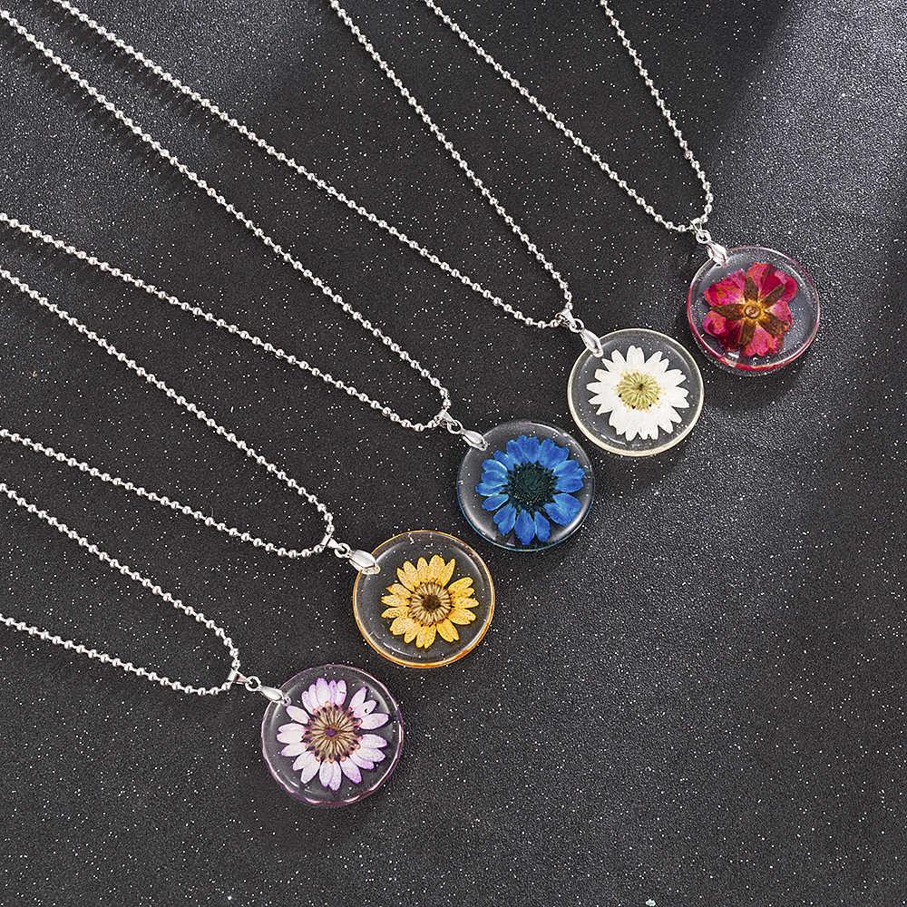 חדש 5 סגנון דייזי עלה Handmake פאנק גותי Boho שקוף שרף מיובש פרח תליוני ארוך Chian קסמי שרשרת תכשיטים