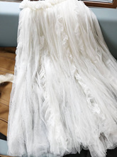 New  White layered yarn skirt half skirt bottom skirt show Style Lace Chiffon oversized half skirt mesh skirt long skirt skirt figl skirt