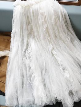 New White layered yarn skirt half skirt bottom skirt show Style Lace Chiffon oversized half skirt mesh skirt long skirt фото