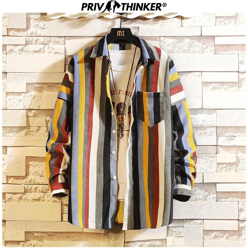 Privathinker Japanese Colorful Striped Men Shirt New Spring Man Basic Long Sleeve Blouse 2020 Korean Male Casual Shirts