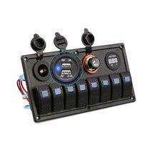 Прямая поставка водонепроницаемый 8 банд кулисный переключатель панель 12 В/24 В выключатель вольтметр для автомобиля морской лодки V-Best