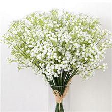 Dropshipping 40 centímetros DIY Flor Artificial Branco Babysbreath Gypsophila Bouquet Flores Falsas Para Casa Festa de Casamento Decoraion
