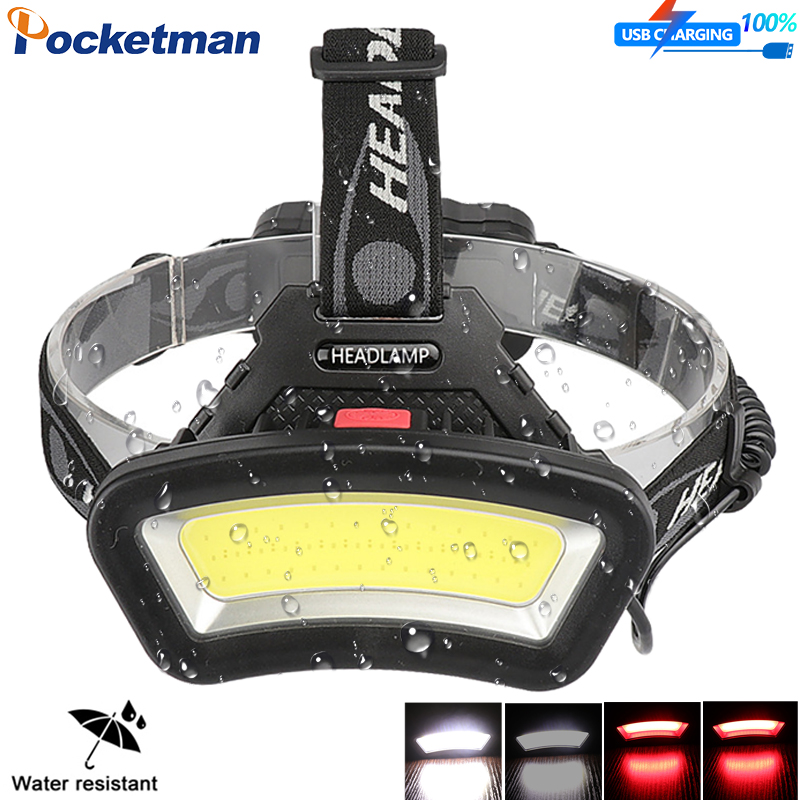 COB Powerful Led Headlamp 8000LM Head lamp USB Rechargeable Headlight Waterproof Fishing Light by 18650 Battery
