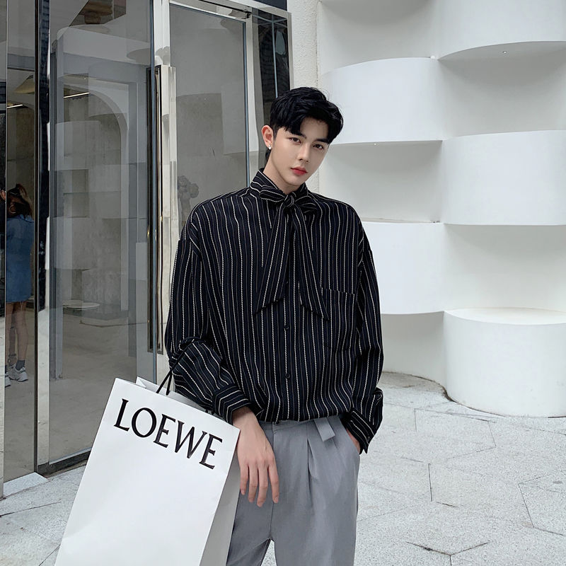 EWQ / men's wear 2020 tie collar stripe shirt spring summer new loose long sleeve large size korean tops casual tide 9Y1721