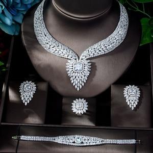 Image 2 - HIBRIDE חדש לבן צבע אופנה למעלה איכות חתונת תכשיטי סטי AAA CZ גיאומטרי כלה עגילי שרשרת סטי N 1141