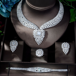Image 2 - HIBRIDE New White Color Fashion Top Quality Wedding Jewelry Sets AAA CZ Geometric Bridal Earrings Necklace Sets N 1141