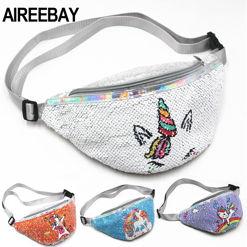 AIREEBAY Sequins Fanny Pack For Girls Cartoon Printing Unicorn Waist Bag For Women Fashion Belt Bags Kids Crossbody Bags
