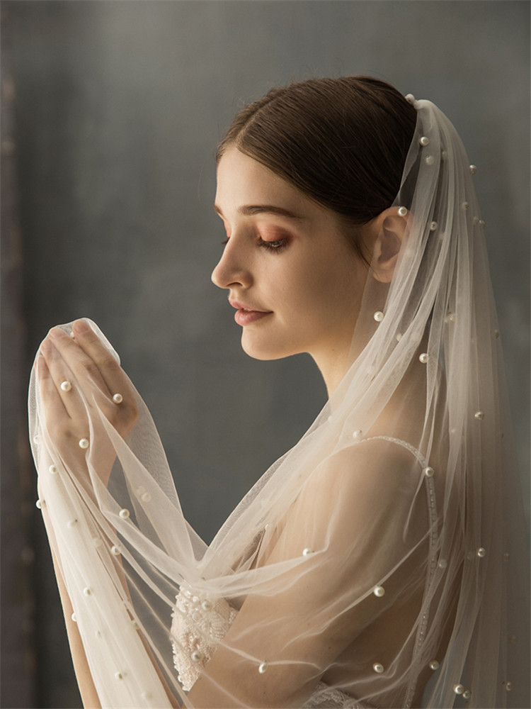 Real Photos White Ivory Long Pearl Veil One Layer Bridal Veil Cathedral Wedding Veil with Pearls Wedding Accessories