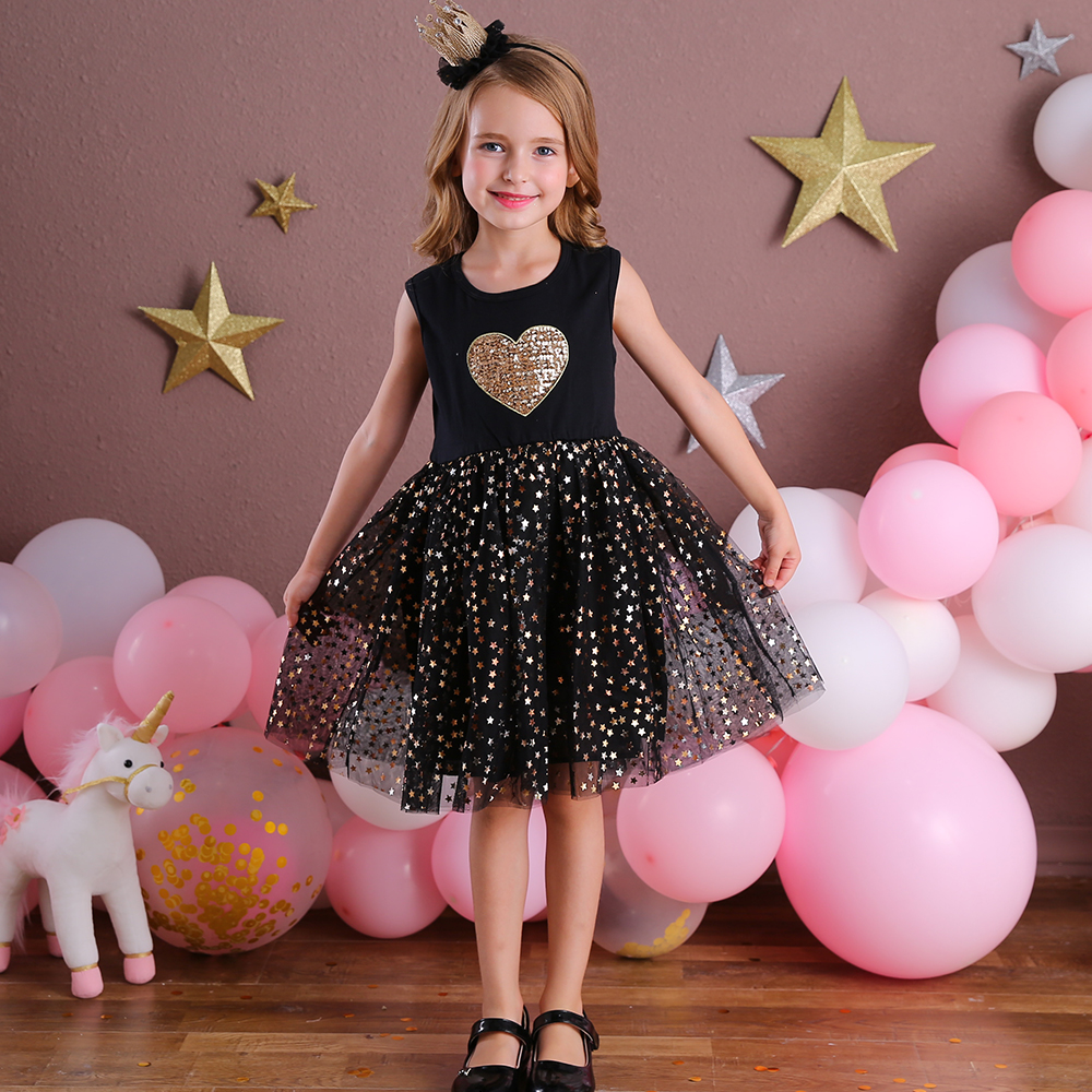 DXTON Kids Sleeveless Lace Dress For Girls Party Dress Star Sequined Birthday Tutu Dresses Children Casual Wear Summer Vestidos 1