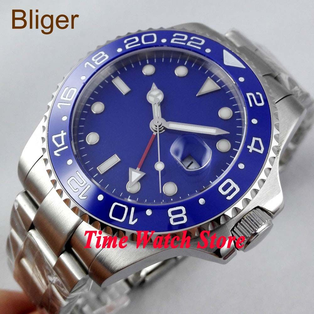 Bliger watch 43mm blue Sterile dial red GMT hand Ceramic Bezel sapphire glass Automatic movement  Men's watch 297|watch 43mm|watch men|watch men watch - title=