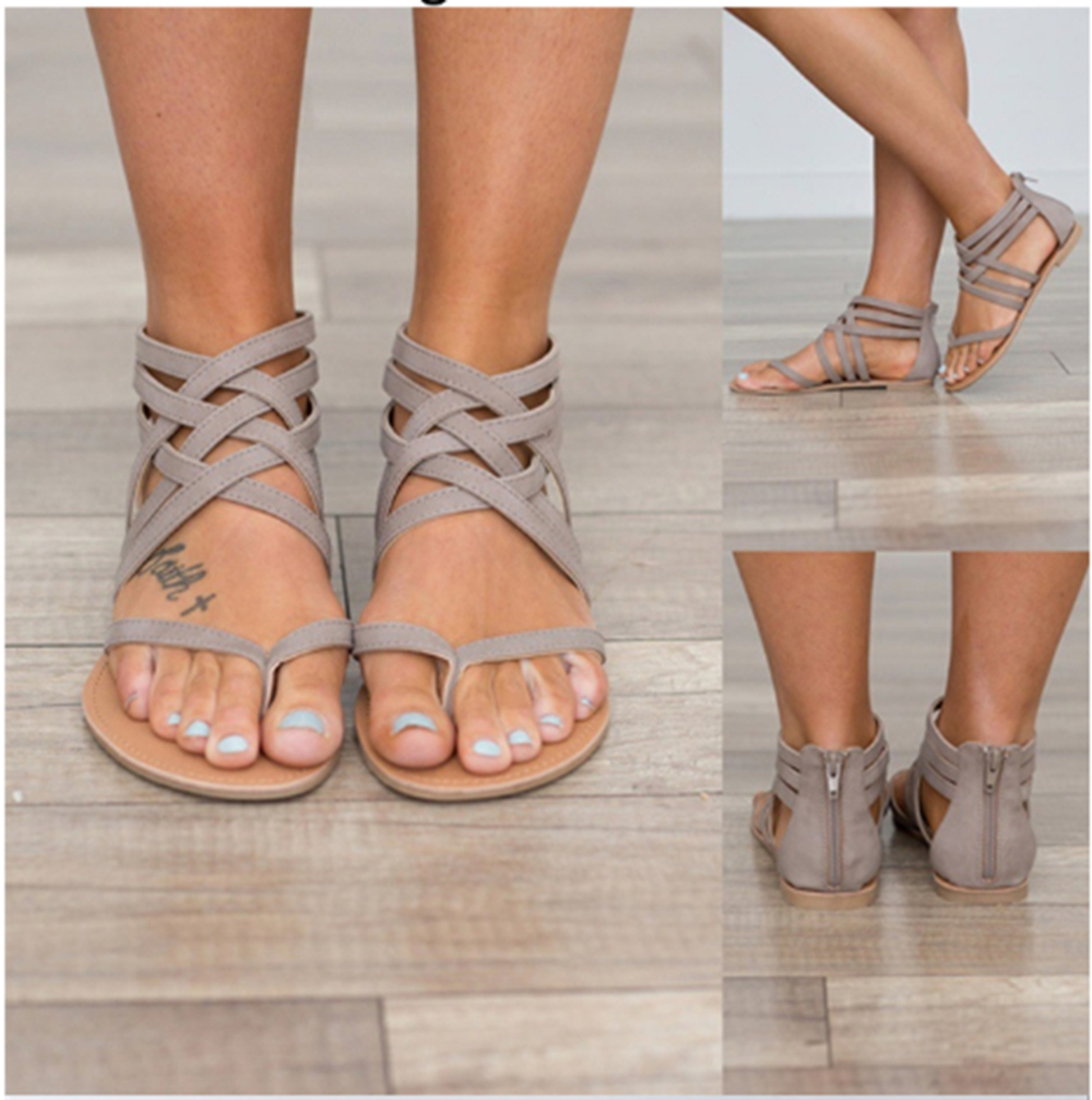 Women Cross Tied Gladiator Sandals Casual Flat Rome Style Summer Shoes Fashion Soft Flip Flop Beach Sandals Female