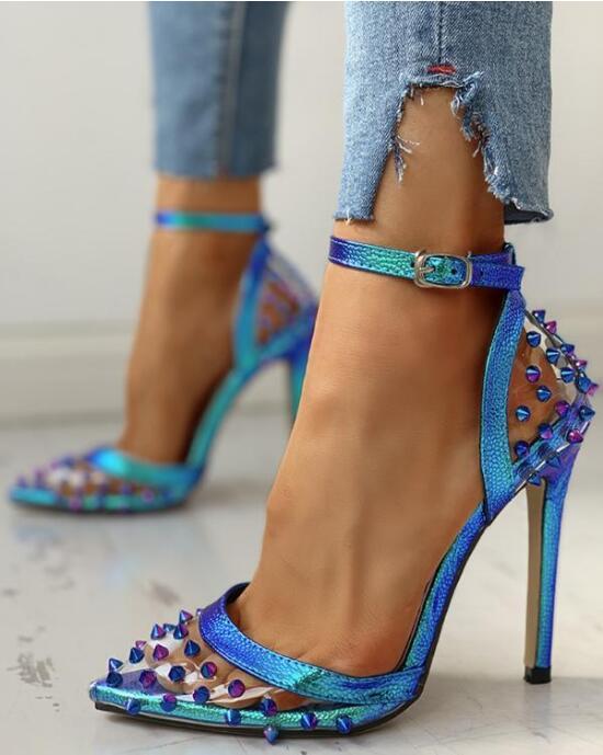 2020 New Sexy Blue Sandals Ladies Women Sandals Pointed Rivet Stilettos Sharp Point Toe 11.5cm High Heels Shoes Zapatos De Mujer