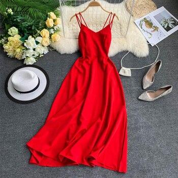 FTLZZ 2021 Vintage Sleeveless Women Dress Summer Sexy Backless Long Dress Female Elegant Red Beach Party Dress 1