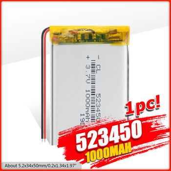 1/2/4 Pcs Durable 523450 1000mAh Lithium Polymer Batteries Rechargeable 3.7 V 1000mAh 523450 Lipo Battery For MP3 MP4 LED Lamp недорого