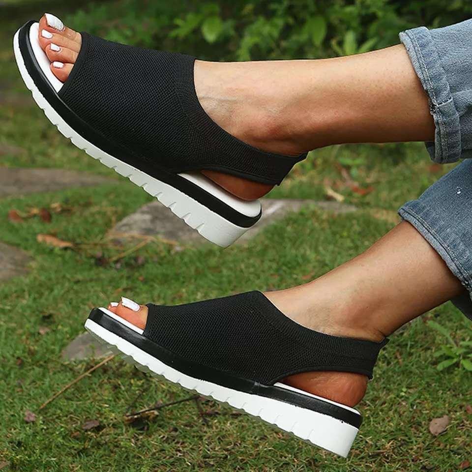 2020 Sandals Women Summer Running Shoes Peep Toe Casual Flat Sandals Ladies Breathable Mesh Women Platform Sneakers Sandalias