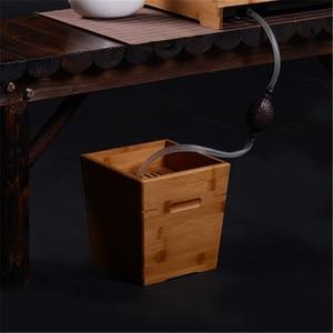 Chá cerimônia acessórios de bambu chá balde de água resíduos chá folha dreno de madeira maciça lixo pode resíduos balde|Filtros de chá|   -