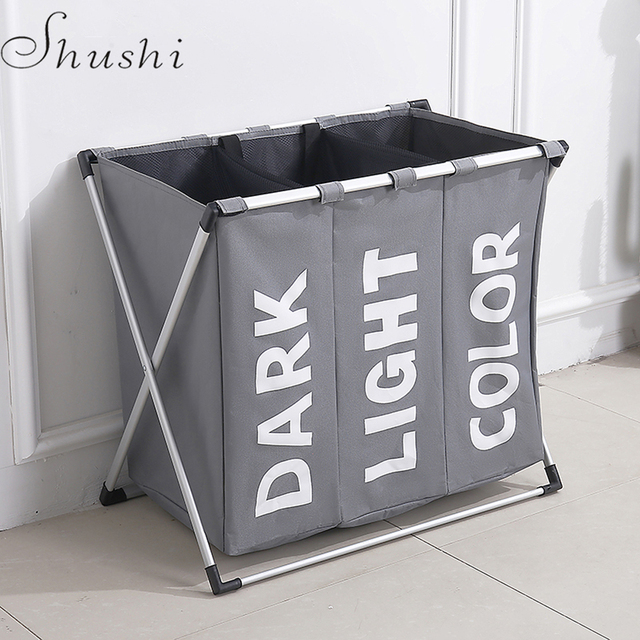 Shushi hotselling water proof three grid laundry organizer bag dirty laundry hamper Collapsible home laundry basket storage bag