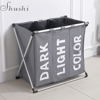 Shushi hot selling water proof three grid laundry organizer bag dirty laundry hamper Collapsible home laundry basket storage bag