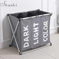Shushi hotselling wasser beweis drei grid wäsche organizer tasche schmutzig wäsche korb Faltbare hause wäsche korb lagerung tasche