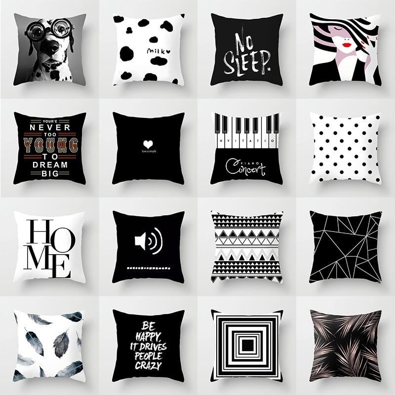 Черно-белая Геометрическая наволочка из полиэстера, наволочка для диванной подушки, декоративная наволочка для автомобиля, дивана, кровати...