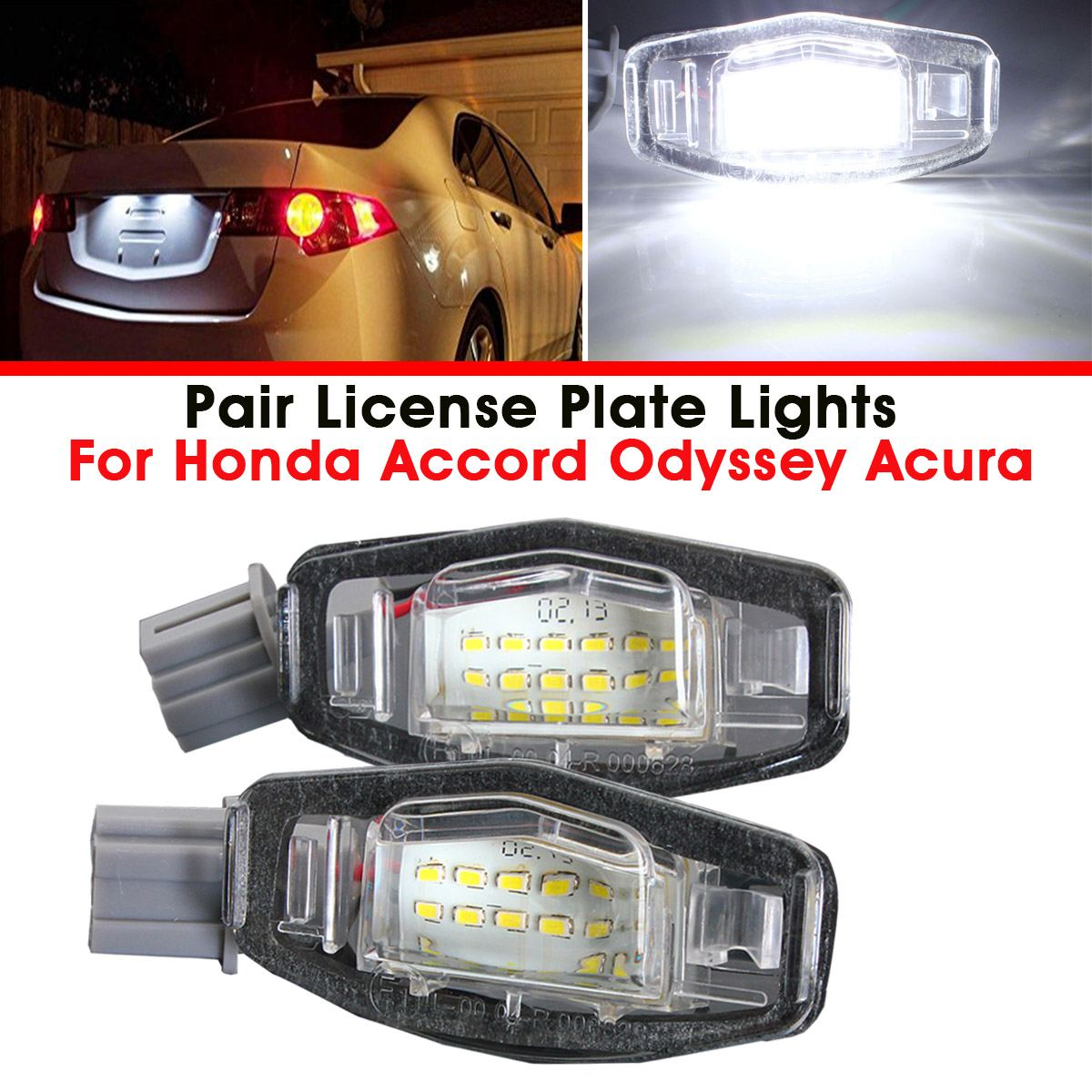 2X 18 LED Number License Plate Light Lamp Error Free For Honda Accord Odyssey Civic Sedan City Acura MDX TSX ILX RDX RL TL