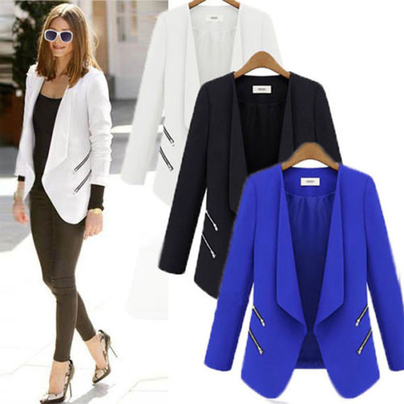 ZOGAA Women Suit Blazer Lady Office Casual Thin Cardigan Coat Solid Slim Fit Jacket With Pocket Elegant Long Sleeve Women Blazer