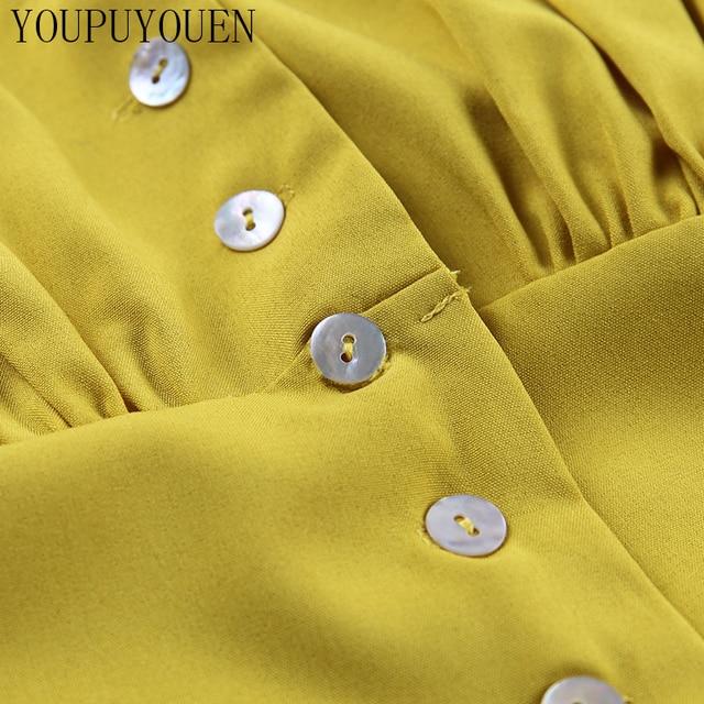 Women Lantern Long Sleeve Blouse Crop Top V-neck Casual Party Elegant Shirt Woman Fashion Clothes Summer Yellow Short Blouses 10