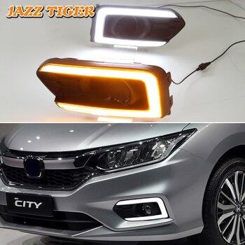 JAZZ TIGER 2PCS Yellow Turn Signal Function 12V Car DRL Lamp LED Daytime Running Light Daylight For Honda Grace City 2017 2018