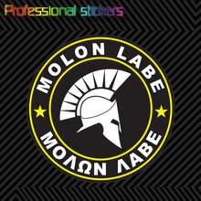 Molon Labe желтые круглые наклейки, самоклеящиеся виниловые наклейки, приходят в качестве 2А V5e для автомобилей, ноутбуков, мотоциклов, офисных п...