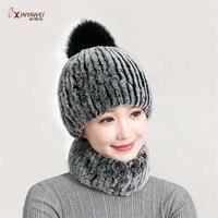 Raglaido Women's Fur Hat Women's Winter Real Rex Rabbit Flower Hat Women's Fabric Warm Snow Cap Collar Set.