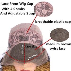 Image 3 - ALICROWN Ombre dantel ön İnsan saç peruk brezilyalı olmayan Remy saç 13*4 dantel peruk 1b/27 ön peruk bebek saç ile
