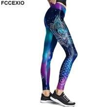 Модные женские Синие леггинсы fccexio с принтом мандалы эластичные