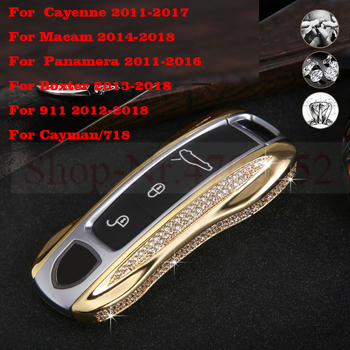 Diamond key ring bag cover decoration keychain Key Case Shell For Porsche Panamera Cayenne 2018