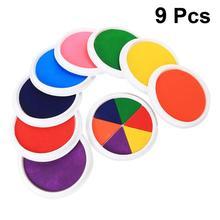 9 pces grande mão tinta almofada de carimbo lavável dedo palma tinta selos para crianças crianças